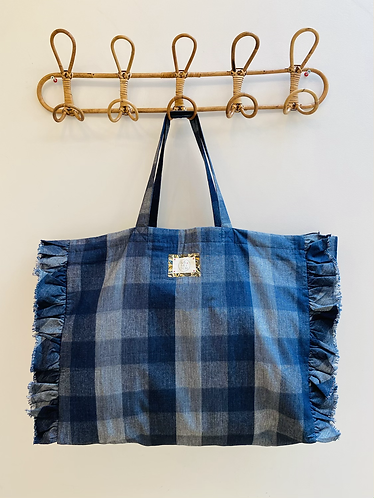 LARGE Charlotte Denim Cotton Fabric Bag