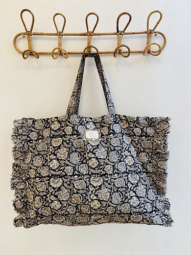 LARGE Ebony Cotton Fabric Bag