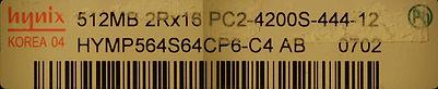RAM 2x 512mb DDR2 hynix PC2-4200S 533mhz