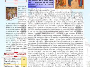 Boletín dominical, 12 Domingo después de Pentecostés