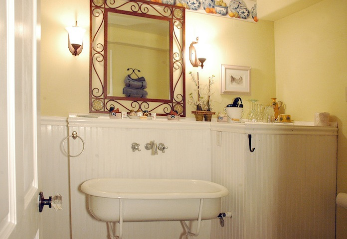 A unique baby bath from Russia was transformed into a sink at the Swan River Inn in Bigfork.