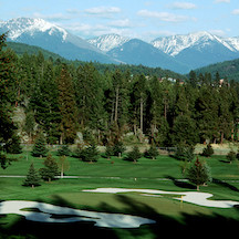 A beautiful par-three at Eagle Bend Golf Club in Bigfork, Montana. (Photo by David Reese/Montana Living)