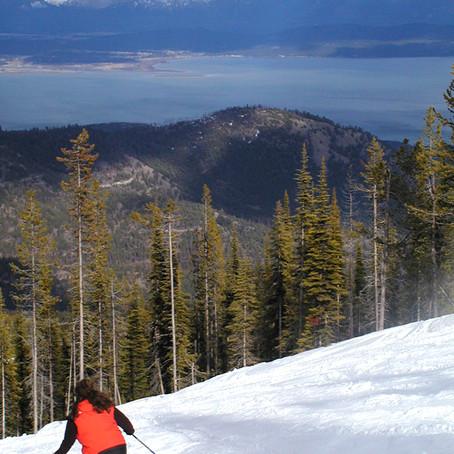 Skiing above Flathead Lake