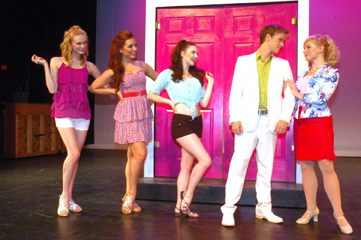 "Cast rehearses for the show ""Legally Blonde"" at the Bigfork Summer Playhouse in Bigfork Montanan 2015."