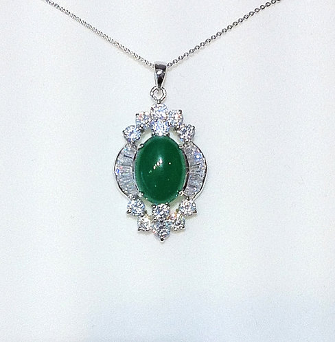 Jade with Swarovski crystal pendant