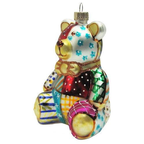 Patchwork Teddy Bear Ornament