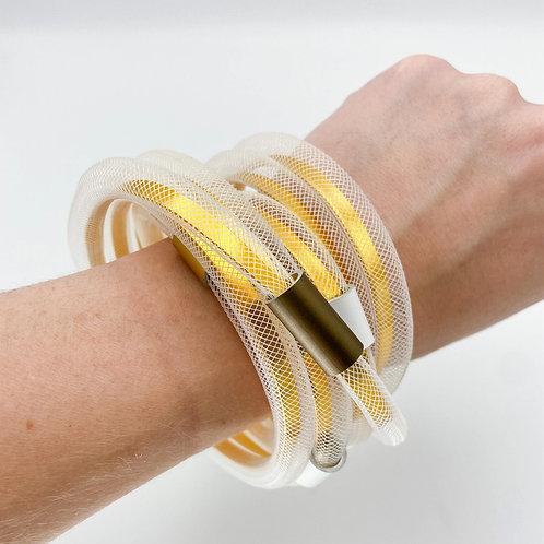 Aluminum Net Chunky Cuff by Christina Brampti