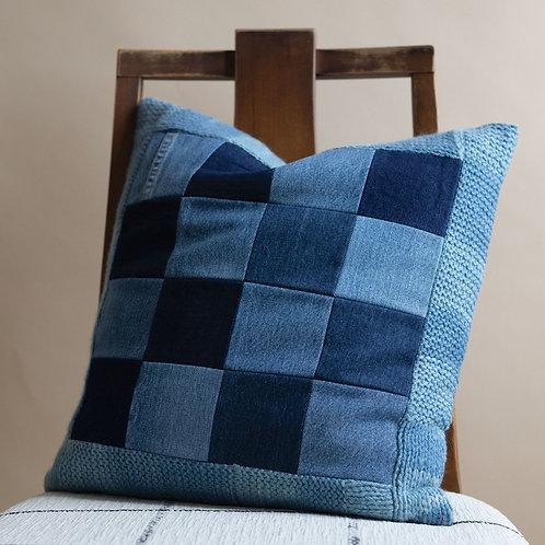 Alpaca Trimmed Denim Grid Pillow by Storyteller Studio