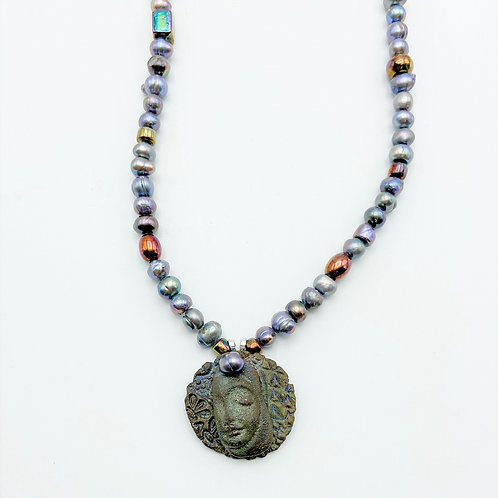 Pearls & Face Pendant by Sharon Ramick