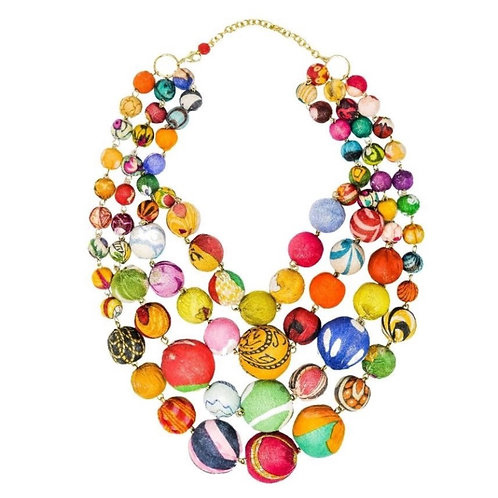 Four Strand Kantha Bauble Necklace by WorldFinds