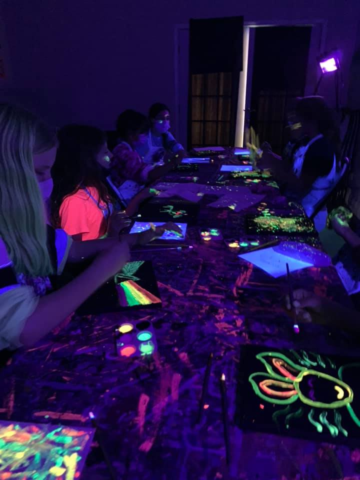 neon canvas painting parties