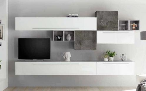 Soggiorno moderno bianco lucido e cemento - 1