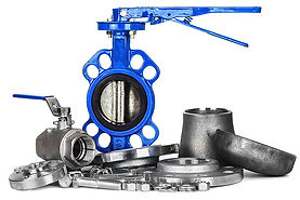 Stock photo pile of valves & fittings - blue butterfly valve, ball valve, flanges, fasteners, lugs, wafers, caps, reducers