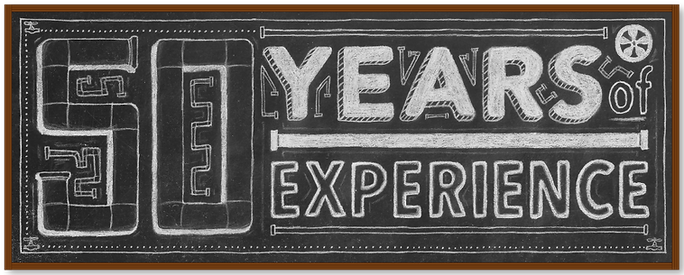 50 Years of Experience - Chalkboard graphic