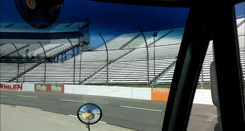 Riding around the track!