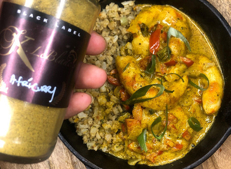 "Afri-Curry ""Shrimp"" with Herbed Cauliflower"