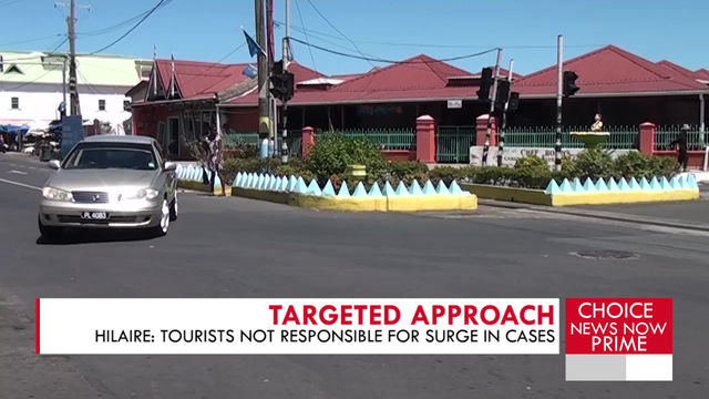 HILAIRE SAYS COVID-19 CASES SURGE IS NOT DIRECTLY LINKED TO TOURISTS.