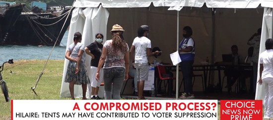 ERNEST HILAIRE SAYS VOTING IN TENTS MAY HAVE CONTRIBUTED TO VOTER SUPPRESSION.