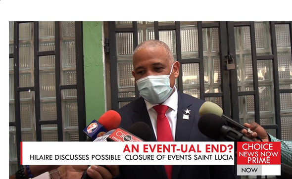 THE CULTURE AND CREATIVE INDUSTRIES MINISTER DISCUSSES THE POSSIBLE CLOSURE OF EVENTS SAINT LUCIA.