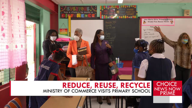 A LOCAL PRIMARY SCHOOL AIDS IN REDUCING POLLUTION BY USING REUSABLE WATER BOTTLES.