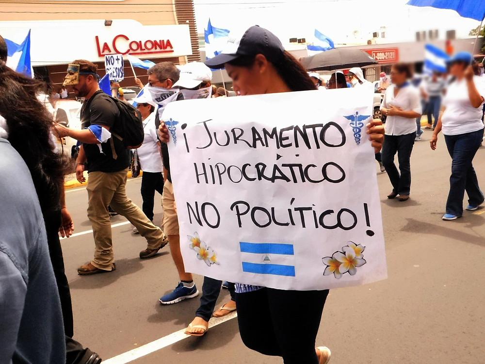 Marcha convocada por el sector salud en agosto de 2018 - Fotografía de Coyuntura por Juan Daniel Treminio