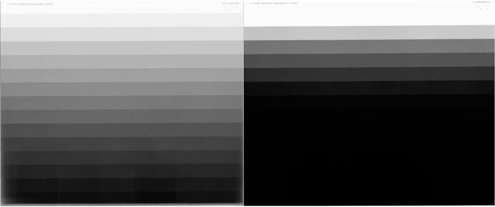 광학 밀도가 다른 산업용 필름 스캐너를 이용해 그레이 스케일(Gray Scale) 15단계 필름을 스캔한 비교 이미지
