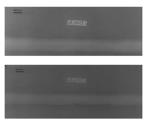 광학 밀도가 다른 산업용 필름 스캐너를 이용해 실제 비파괴 검사 필름을 스캔한 비교 이미지