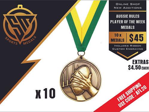 10 x Aussie Rules Alpha Medal