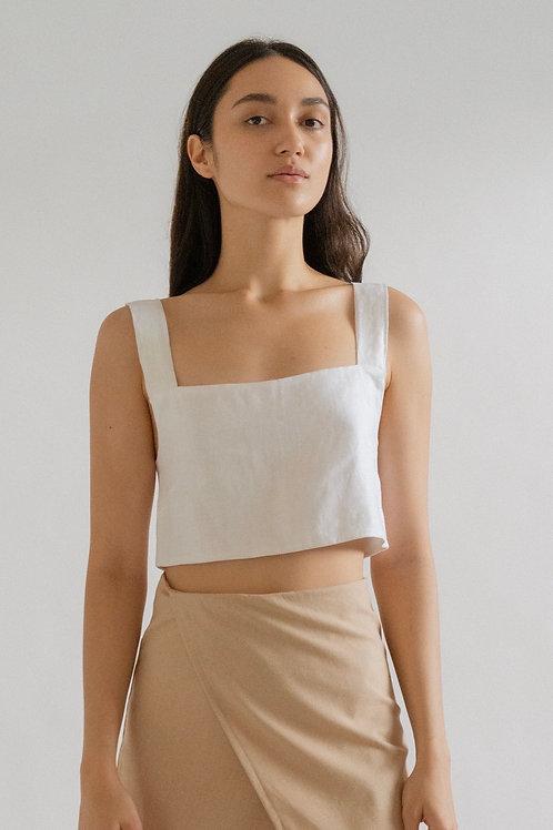 Square Crop White Linen (pre-order)