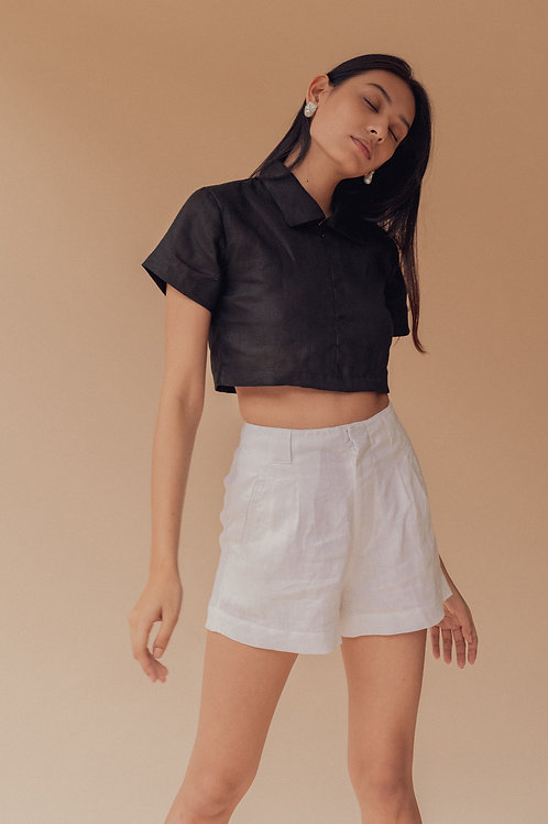 Pleated Shorts White Linen (pre-order)