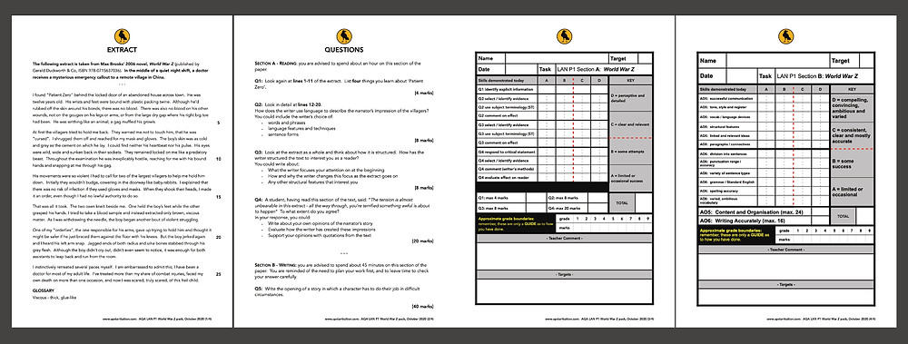 A screenshot of the four page resource, including extract, questions, and marking grids for sections A & B