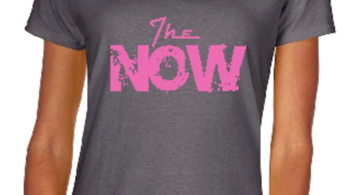 Ladies Pink/Gray V Neck T-Shirt