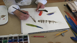 Student Painting Feathers
