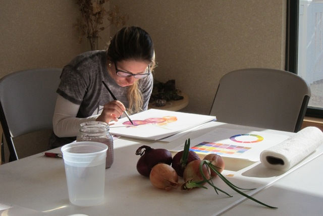Student in Basic Watercolor Class