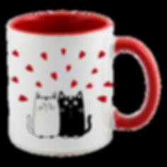 mug gatos corazones