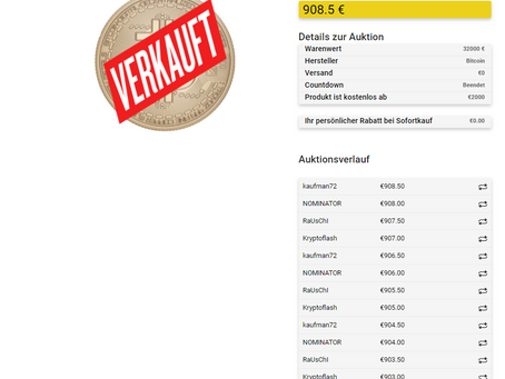 Bitcoin Auktion erfolgreich!