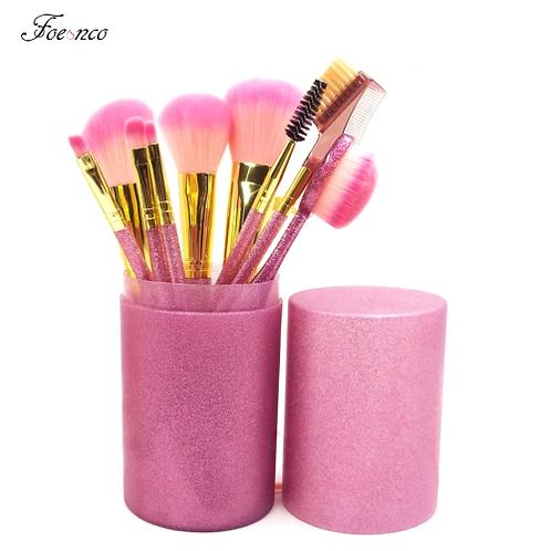 9pcs/set Makeup Brushes Kit Soft Synthetic Glitter Handle Oval Brushes Set