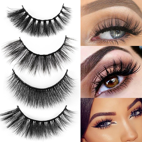 5 Pairs 3D Mink Hair Natural Cross False Eyelashes Long Messy Makeup Fake Eye