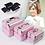 Thumbnail: Professional Cosmetic Case Women Wedding Gift Box Beauty Makeup Travel Train
