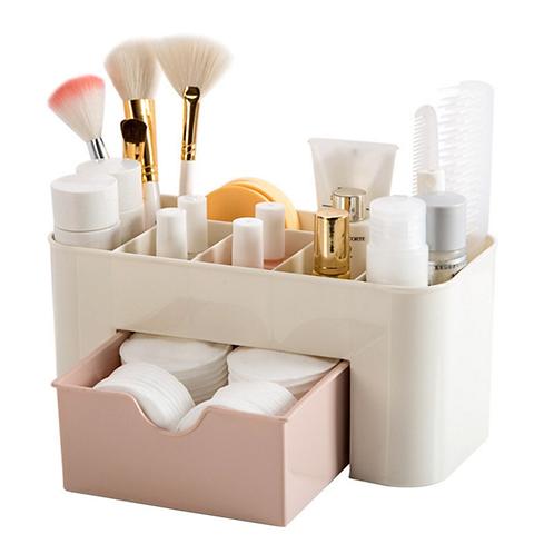 Cysincos Saving Space Desktop Comestics Makeup Storage Drawer Plastic Box Makeup