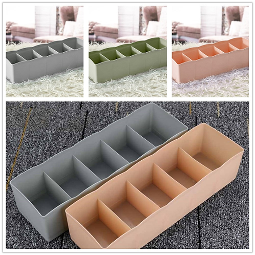 5 Cells Plastic Organizer Storage Box Tie Bra Socks Drawer Cosmetic Divider
