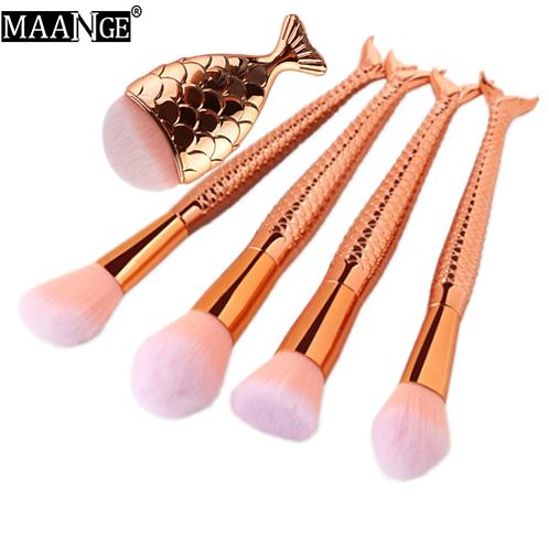 MAANGE 5Pcs Mermaid Makeup Brushes Fish Big Powder Eyebrow Blush Eyeshadow Found