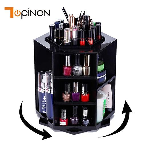 360 Rotating Makeup Organizer Storage Box Adjustable Plastic Cosmetic Brushes