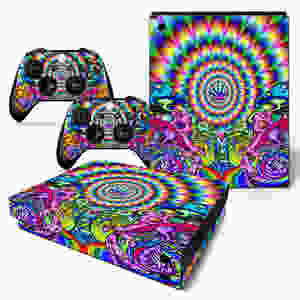 An Xbox One S Skin for the console and controllers designed to look like a hippie rainbow