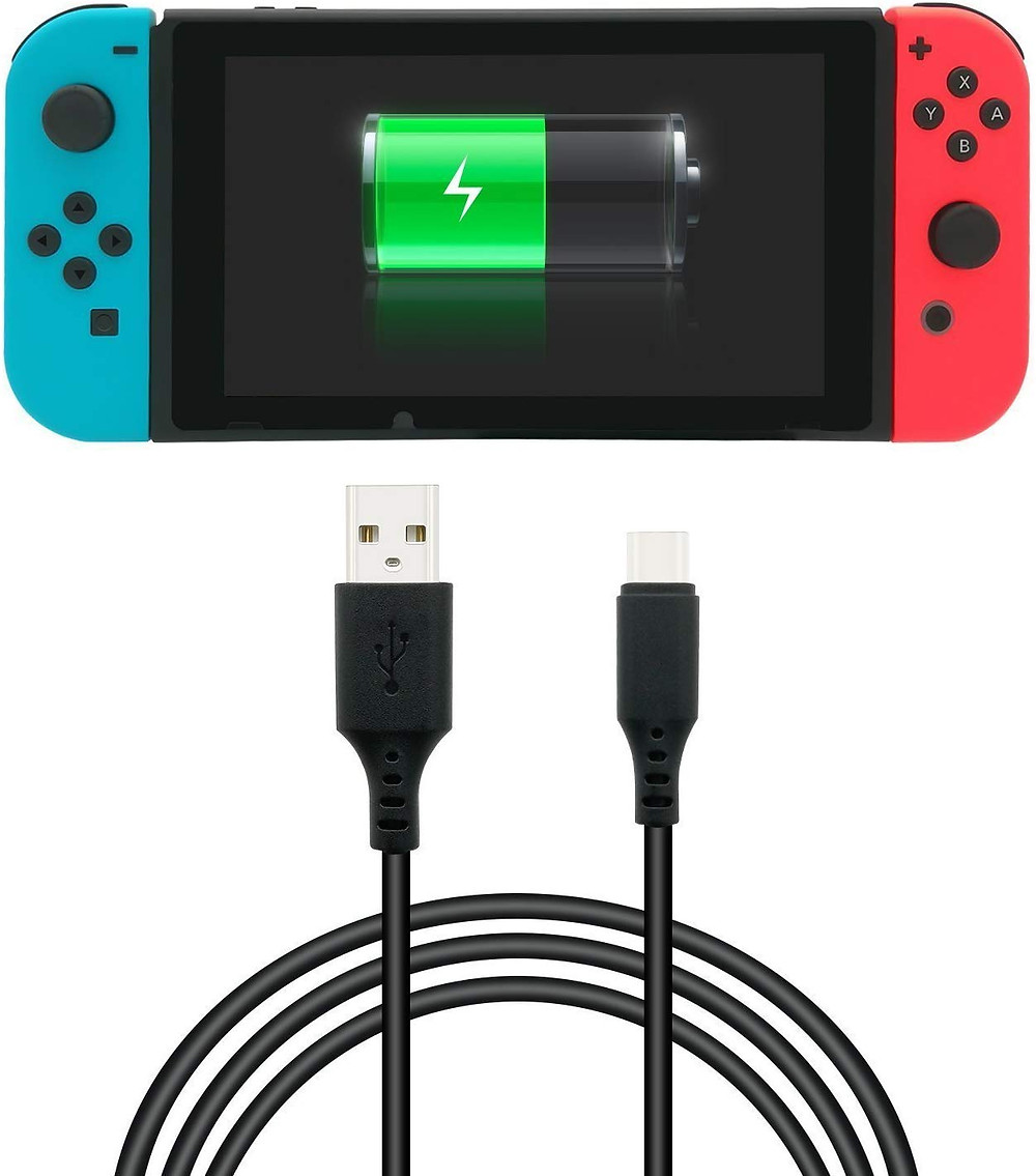 A picture of a USB A to C cable below a Nintendo Switch with a charging battery on its screen.
