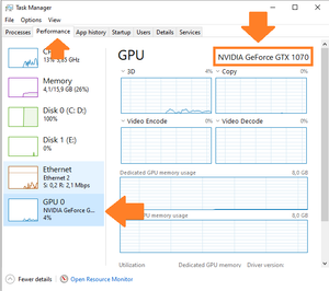 """A screenshot of the Task Manager´s """"Performance"""" Tab. It shows the GPU menu and highlights the graphics card."""
