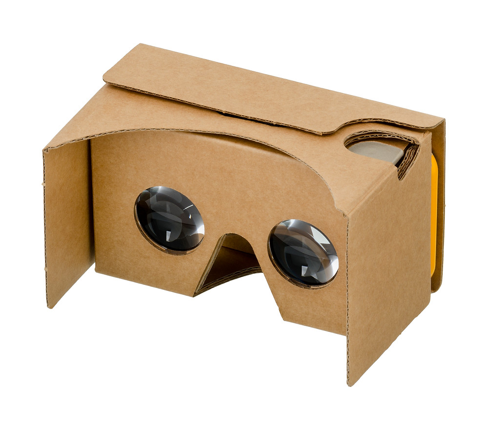A pitcure of Google Cardboard VR headset with a phone inside