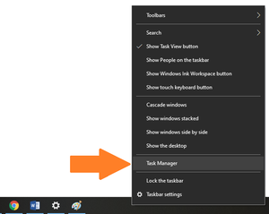 A screenshot of a taskbar with it´s menu open with an arrow pointing towards the Task Manager option