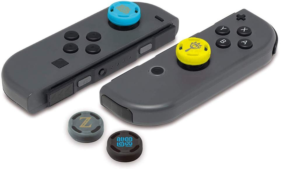 A pair of Joy-Con with it´s thumbsitck replaced by Legend of Zelda caps