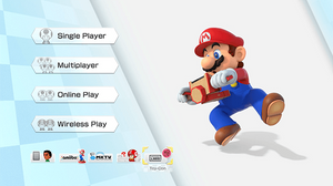 A screenshot of Mario Kart 8 main menu with the option to play with the Labo selected